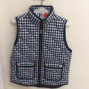 J Crew Blue Gingham Vest